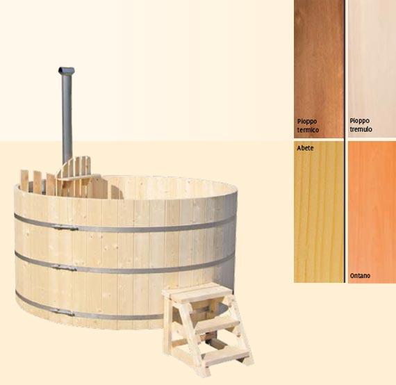 SAUNE da esterno a forma di vasca con acqua riscaldata con stufa a legna hydrius SAUNE