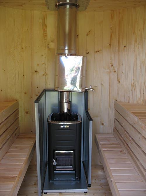 Saune casetta con stufa a legna hydrius saune - Stufa a legna per termosifoni ...